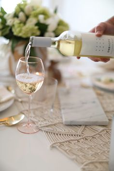 @anthropologie glass wear and runner - #blush spring table setting. #blush #marble #wine