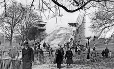 A ski jump on Hampstead Heath, #London, March 1950. The snow came from Norway & they landed in bales of hay.