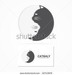 Vector cartoon cat logo.  Animal cat pets and shop icon