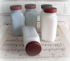 Vintage Griffiths Milk Glass Spice Jars