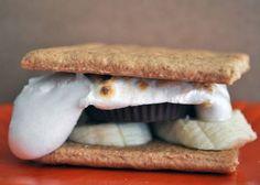 ... smores recipe: Graham cracker, Banana, Peanut Butter Cup, Marshmallow