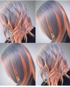 Best Ombre Hair Color Ideas For Stylish Girls - Couleur Cheveux 02 Hair Color Pink, Blonde Color, Cool Hair Color, Purple Hair, Pink Purple, Hair Colors, Blonde Pink, Platinum Blonde, Pink Grey