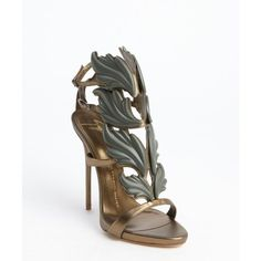 Giuseppe Zanotti Bronze leather leaf vamp open toe heel sandals ($830) ❤ liked on Polyvore featuring shoes, sandals, heels, bronze, open toe high heel shoes, high heel sandals, leather sandals, bronze shoes and leather sole shoes