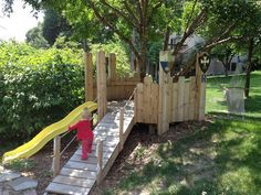 diy build your kids a play castle, diy, outdoor living, woodworking projects, Finished product with slide ramp and hammock