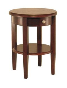 Winsome Wood Round End Table with Drawer and Shelf, Antique Walnut Round End Table sits on sturdy legs and feature a small drawer plus shelf. This table will add warmth and charm your living room. Solid Beachwood in Antique Walnut Finish Assembly Required End Tables For Sale, Round End Tables, Round Accent Table, Side Tables, Small Tables, Round Dining, Table Furniture, Living Room Furniture, Home Furniture