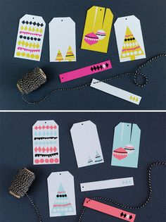 Bright, modern holiday gift tags by Hey Look (multiple colorways available for download):