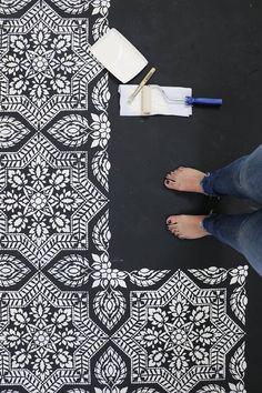 Floor Stenciling for you DIY-ers | Black & White | Concrete Flooring #floors #stencils #paint #diy