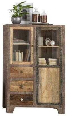 """Rustikal und stilvoll – Highboard """"PUNJAB"""" in exotischer Ausführung Decor, Furniture, China Cabinet, Home, Storage, Home Decor"""