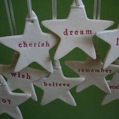 "ceramic christmas stars by ""paper boat press"" - a boutique ceramic studio of Kylie Johnson in Brisbane, Australia."