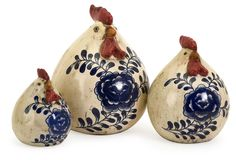 Like a classic farmhouse find, these ceramic chickens will imbue the home with a charming vintage feel...... I like these fat chickens!
