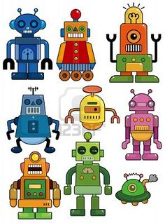 cartoon robot icon set   Stock Photo