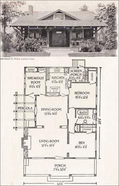 1916 California Bungalow - 1200 sq. ft. - Helen Lukens Gaut - Old house plans for little homes