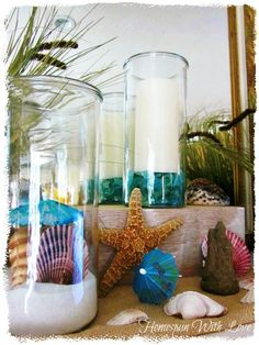 Simple diy project  We had a lot of fun making up these easy beach jars as part of our Beach Theme Mantel . We can't always get to the beach...