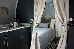 Small Space | Bedroom Ideas | Curtain Tiebacks | Vintage Airstream | Remodel Ideas | RV Travel | Interior Design