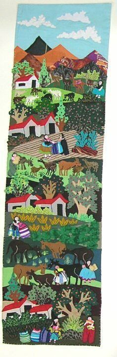 Mountain Village Harvest Arpillera 35 x 10 inches 30784 Mexican Embroidery, Mesoamerican, Mountain Village, Art Classroom, Art Lessons, Chile, Folk Art, Harvest, Art Projects