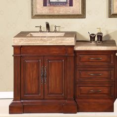 51 Inch Single Sink Vanity With A Unique Travertine Top