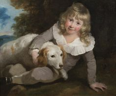 SIR WILLIAM BEECHEY 1753 - 1839 PORTRAIT OF A BOY AND HIS DOG Oil on canvas Image size: 20 x 28 inches (51 x 71 cm)