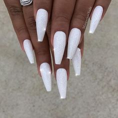 32 Extraordinary White Acrylic Nail Designs to Finish Your Trendy Look – Long Nails – Long Nail Art Designs White Nail Designs, Simple Nail Designs, Acrylic Nail Designs, Nail Art Designs, Nails Design, Nails And More, White Coffin Nails, White Acrylic Nails With Glitter, White Nails With Glitter