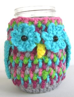 Crochet Owl Cozy Tin Can Mason Jar PDF by ReciprocityCrafts, $3.99
