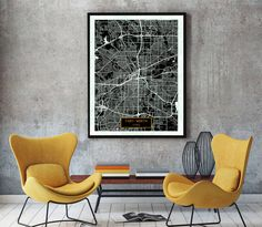 FORT WORTH Texas City Map Fort Worth Texas Art by JackTravelMap