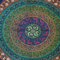 Mandala Tapestry Blue Table Runner Floral Twin by RajasthanRoyals