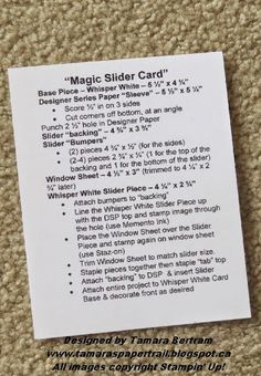Tamara's Paper Trail: Magic Slider Card Tutorial