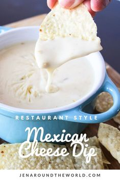 If you love that white cheese dip from the Mexican restaurant, then you will love this copycat version that tastes just like the real deal! It's easy to make and goes great with nachos, tacos, and just as a dip for your chips Mexican Cheese Sauce, Mexican White Cheese Dip, White Cheese Sauce, Recipe For Mexican Cheese Dip, Homemade Cheese Dip, White Cheese Dips, Crock Pot Cheese Dip, Crockpot Queso Dip, Mexican White Sauce