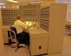 Man working at analog computer, 1968