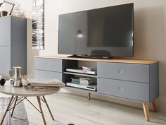 JOAN TV Möbel Wohnzimmer Lowboard 162 Eiche & Grau