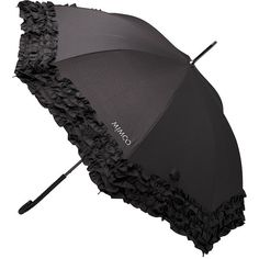 Pin by Valerie J. Yelk on Stylin& and Proflin& Black Umbrella, Under My Umbrella, Long Umbrella, Mimco Pouch, Wind Resistant Umbrella, Confessions Of A Shopaholic, Umbrellas Parasols, Black Ruffle