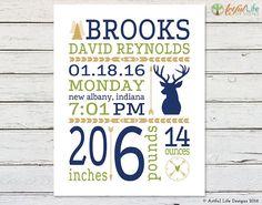 Deer Birth stats, Baby Boy Nursery Art, Woodland Nursery Decor by ArtfulLifeDesigns