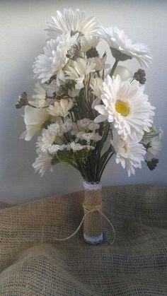Burlap and lace bouquet wrap
