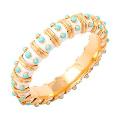 Late 20th century TIFFANY & CO. JEAN SCHLUMBERGER White Enamel & Turquoise Bangle