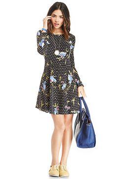 Harlyn Floral Long Sleeve Fit & Flare Silk Dress in Black M | DAILYLOOK