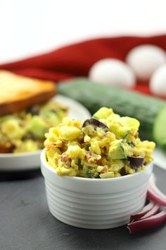 Change up your lunch routine with this healthy and nutritious Mediterranean Egg Salad recipe. It's lightened-up with greek yogurt and packed full of flavor with olives, sun-dried tomatoes and cucumber. Perfect for lunch on the go! Egg Recipes, Salad Recipes, Cooking Recipes, Recipies, Wrap Recipes, Yummy Recipes, Healthy Dinner Recipes, Healthy Snacks, Healthy Eating