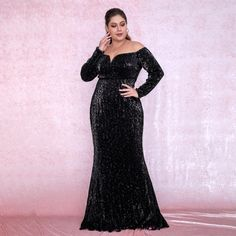 Plus Size Sexy Black Deep V-Neck Off-The-Shoulder Bodycon Elastic Sequins Maxi Dress Trendy Dresses, Plus Size Dresses, Sexy Dresses, Evening Dresses, Plus Size Gala Dress, Col Bardot, Glamorous Outfits, Sequin Maxi, Long Sleeve Gown
