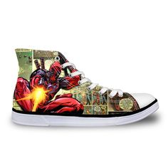 2016 Hot Sale Mens Casual Shoes Cool Cartoon Super Hero Deadpool Printed Shoes For Men Fashion Boy Student High-top Canvas Shoes