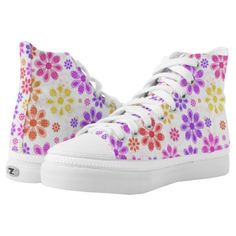 Shop Flower Designed High-Top Sneakers created by Mannzie. Printed Shoes, Flower Designs, Designer Shoes, Athletic Shoes, High Top Sneakers, Women's Fashion, Pairs, Color