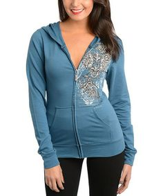 Look at this #zulilyfind! Teal Floral Zip-Up Hoodie #zulilyfinds