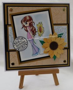 Tinyrose's Craft Room: Crafty Catz Challenge 405 made with the image Sunflower Girl  from Time for Tea Designs.