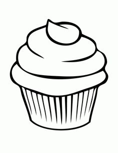 5 best images of printable birthday cupcake outlines black and rh pinterest com Birthday Cupcake Coloring Cupcake Clip Art Black and White