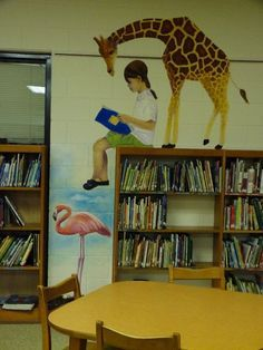 children's library mural - Google Search