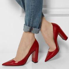 Shoespie Elegant Red Pointed Toe Block Heels