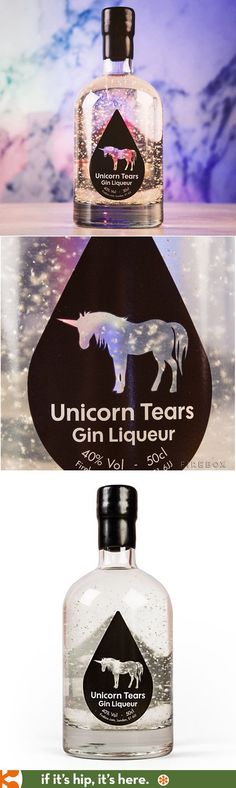Distinctive flavours of gin mixed with the sweetness of a liqueur, this magical brew is also sprinkled with shimmering - edible - pieces of silver. Nose: Fragrant juniper rises from the glass al (Glitter Liquor Bottle) Cocktails, Cocktail Drinks, Alcoholic Drinks, Cocktail Recipes, Drink Recipes, Unicorn Tears Gin, Whisky, Le Gin, Unicorn Foods