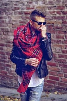 Stole muffler shawl red checks leather jacket
