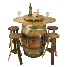 Table Set with Rack Base comes with a 28 bottle wine rack inside. Barrel is open on both ends and can load bottles from both directions.