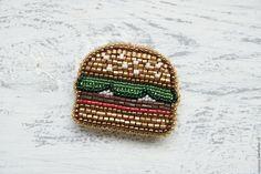Why not? Beaded brooch Hamburger   Купить Брошь из бисера вышитая брошь бисерная брошь Гамбургер - вышитая брошь, брошь бургер