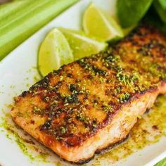 Salmon with lime butter glaze