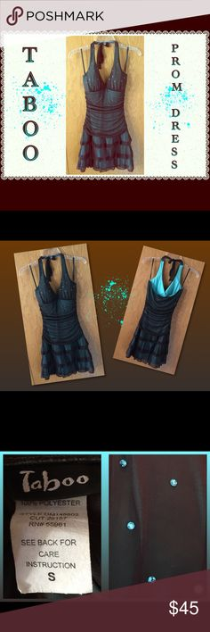 """🎉❤️Prom Dress❤️🎉 Halter style with a touch of bling.  2 layers - sheer chocolate brown over solid teal stretchy polyester.  Pit to pit about 13"""".  Pit to bottom 25"""".  100% polyester.  No flaws. TABOO Dresses Prom"""