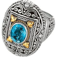 Phillip Gavriel - 18K Yellow Gold & Sterling Silver Oxidized Oval Blue... ($176) ❤ liked on Polyvore featuring jewelry, rings, oxidized ring, sterling silver jewelry, yellow gold blue topaz ring, gold jewelry and 18 karat gold ring
